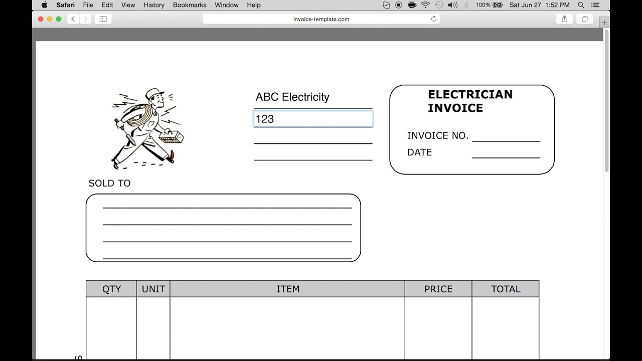 How To Make Electrician Invoice | Excel | Word | PDF  Electrical Invoice Template