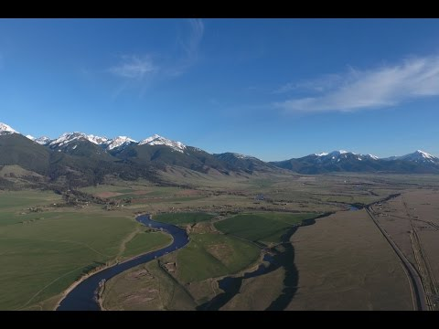 Aerial view of Paradise Valley, Montana.  DJI Phantom 4 UHD 4K