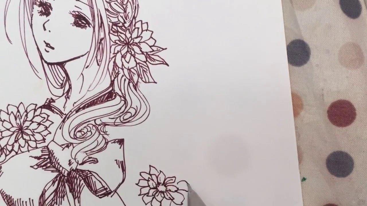一発書きイラスト 着物の女の子 Youtube