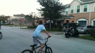Doing tricks on bikes