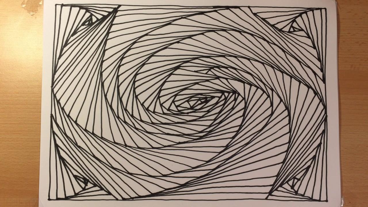 Zeichnen Lernen Leicht Tag 03 Abstrakt 3d Fur Anfanger Abstract Spiral Drawing 3d Illusion Line Art