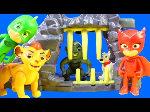 The Lion Guard Kion And PJ Masks Team Up To Rescue Lost Dog At Hyena's Hide Out Playset