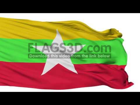 Isolated Waving National Flag of Myanmar