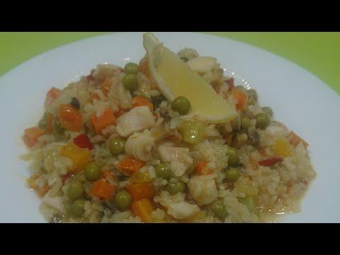 Рис с кальмарами и овощами