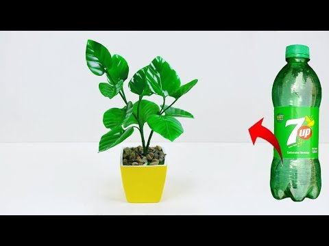 Artificial leaf plant for home decoration // Plastic bottle tree