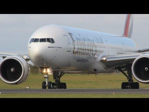 Emirates Boeing 777-300ER Close Up Landing & Takeoff at Dublin Airport