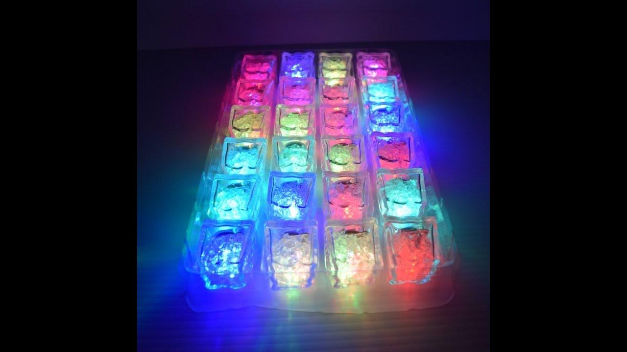 led light up freezable ice cubes 24pc youtube. Black Bedroom Furniture Sets. Home Design Ideas