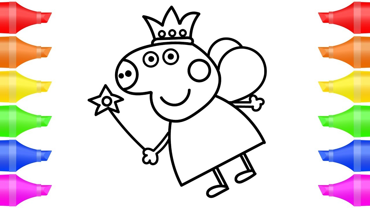 PEPPA PIG Fairy How to Draw EASY Coloring Pages for Kids ...