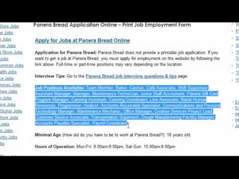 Panera Bread Job Application Online Youtube