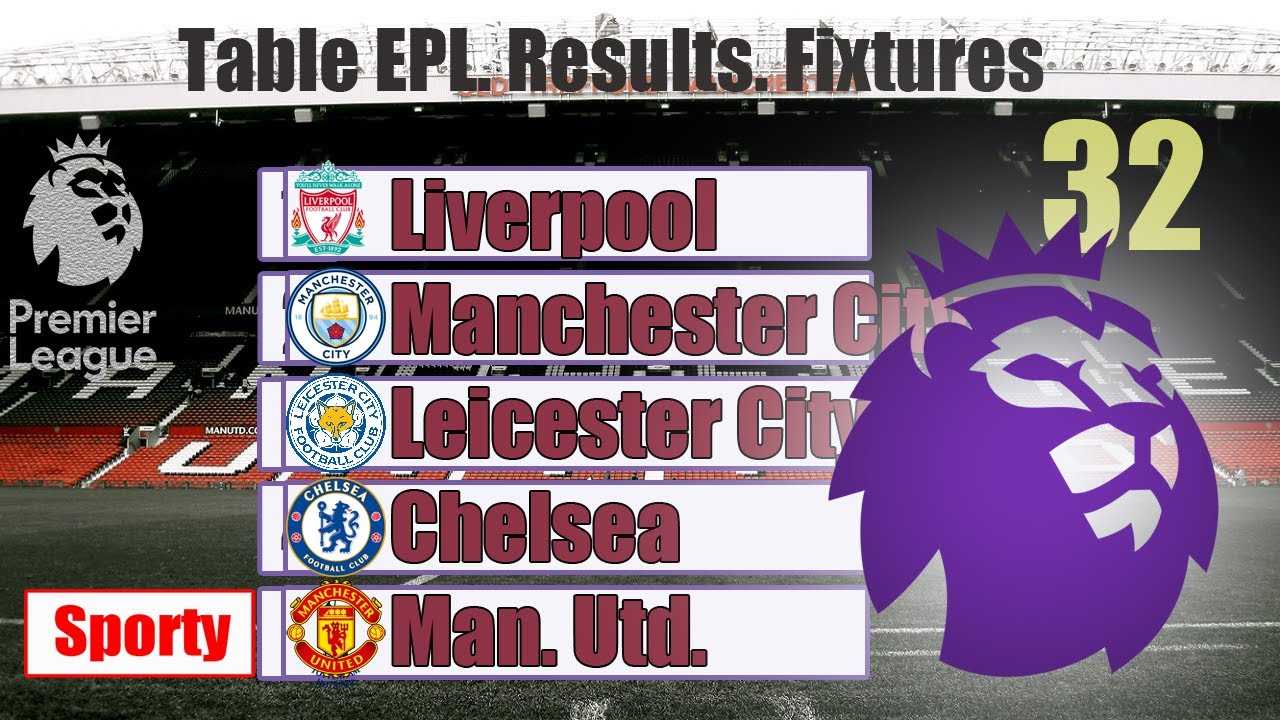 English Premier League (EPL). Gameweek 32. Results. Standings and fixtures.