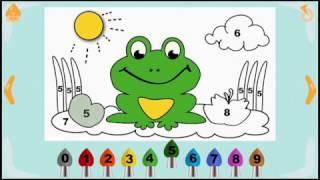 Учим цифры. Картинка по номерам. Лягушка.