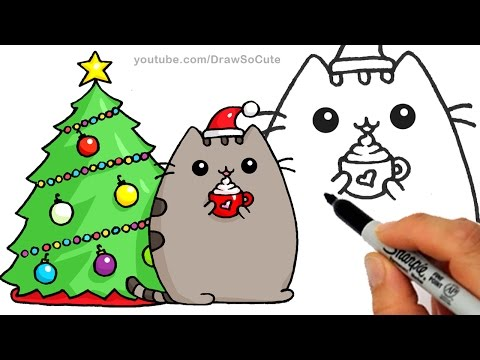 Christmas Pusheen.How To Draw Christmas Holiday Pusheen Cat Step By Step Easy