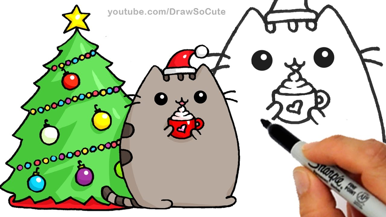 how to draw christmas holiday pusheen cat step by step easy and cute - Christmas Drawings Step By Step