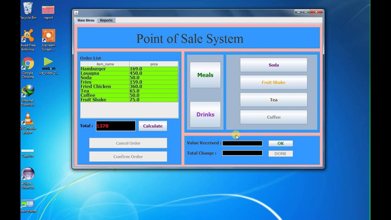 Java Eclipse 1 Point Of Sales System Pos Youtube