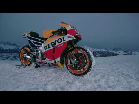 Marc Marquez rides the Honda RC213V on snow