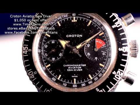 Croton Aviator Sea Diver Vintage Manual Winding 38MM Valjoux 92 Tritium