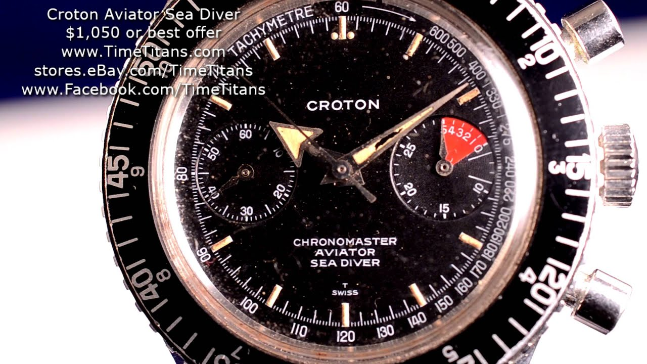 Croton Aviator Sea Diver Vintage Manual Winding 38MM Valjoux 92 .