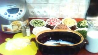 Окрошка    на    Кефире    с    Мясом   и   Овощами