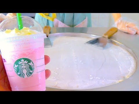 Starbucks Cotton Candy Frappuccino ice cream VS starbucks Latte coffee ice cream rolls challenge