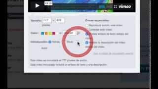Código HTML en Vimeo