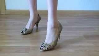Обзор. Туфли, босоножки 39 размер, Marco Tozzi, золото