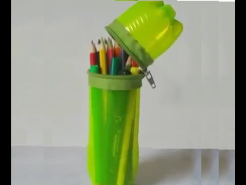 How To Make A Pencil Box With Old Plastic Bottle Youtube