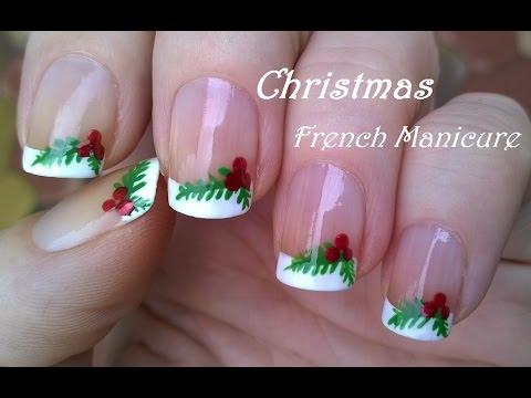 CHRISTMAS NAILS!! MISTLETOE French Manicure NAIL ART ...