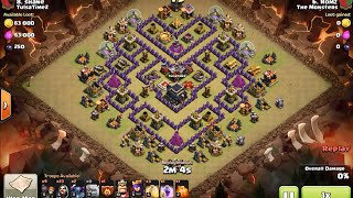 "How to 3 star ""V Moats"" TH9 base with GoWiPe (Golem Wizard Pekka) - clash of clans war attack"