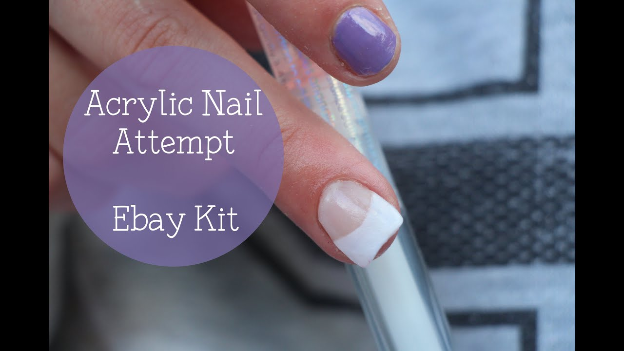Acrylic Nail Attempt & Tutorial with Ebay Kit | Nina Holly - YouTube