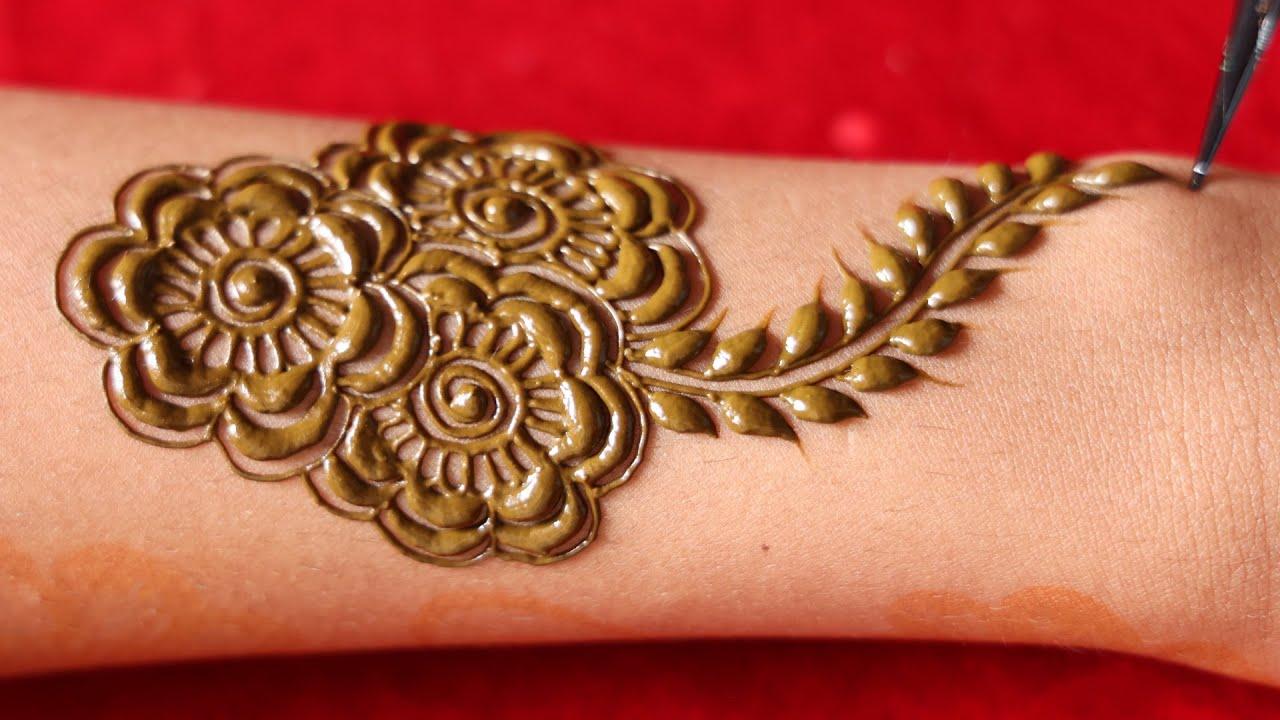 rose net mehndi design for full hand    easy beautiful rose mehendi, new mehandi    net henna mehndi