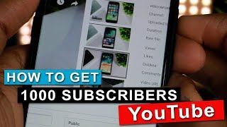 How to Get 1000 Subscribers on YouTube 2018