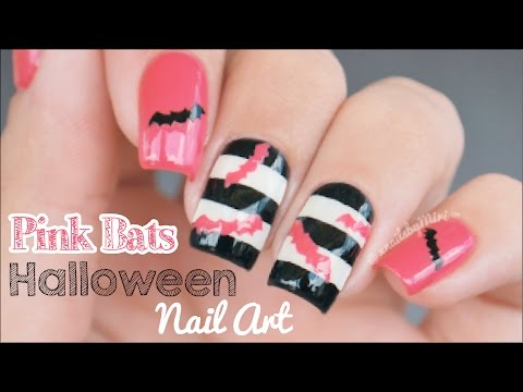 Pink Bats Halloween Nails || using Whats Up Nails bats vinyls