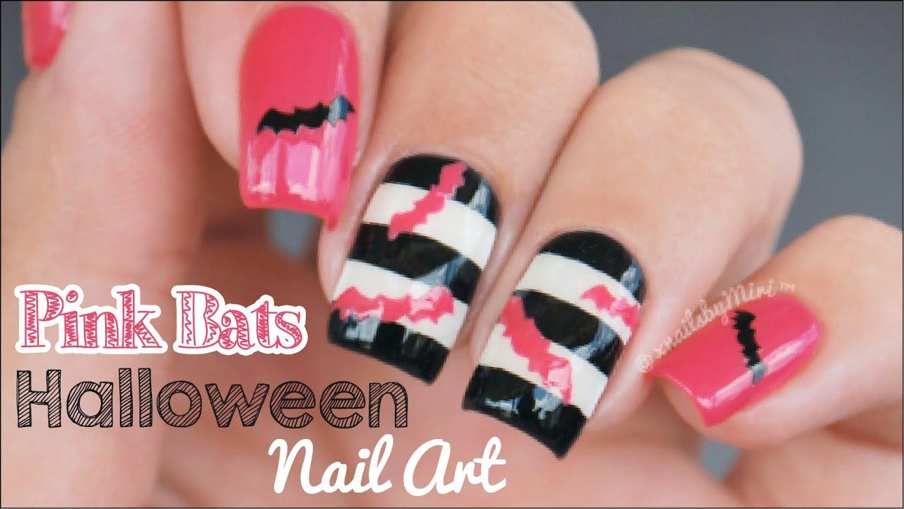 Pink Bats Halloween Nails || using Whats Up Nails bats ...