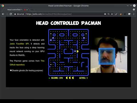 Jeeliz Face Filter API: Head controlled pacman using deep learning network
