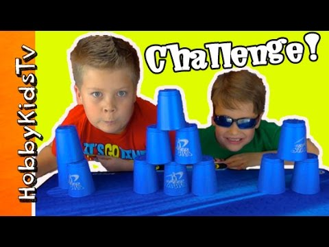 Sport Cup Stacking Surprise! Toy Challenge By HobbyKidsTV