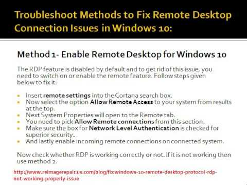 Fix: Windows 10 Remote Desktop Protocol (RDP) Not Working Properly Issue