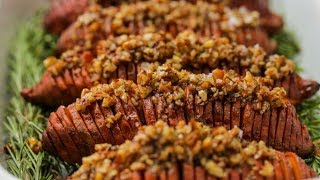 Maple Pecan Hasselback Sweet Potatoes // Presented by LG USA