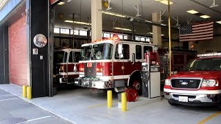 SFFD Engine 13 responding from firehouse to a medical call in the Financial District San Francisco