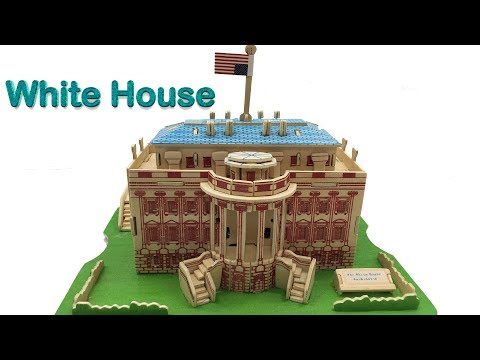3D Woodcraft Construction Kit DIY, Assembly the 3D Wooden Puzzle White House