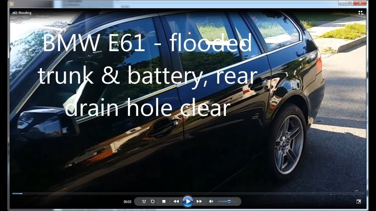 Diy Bmw 530xit E61 E60 Drain Hole Clear Flooded Trunk Battery 2013 M5 Fuse Box Compartment Youtube