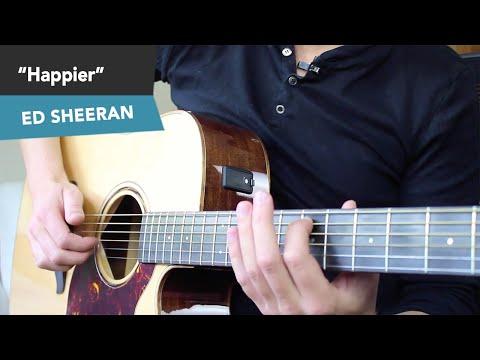 Ed Sheeran - HAPPIER Guitar Lesson Tutorial  - Fingerstyle Chords NO CAPO