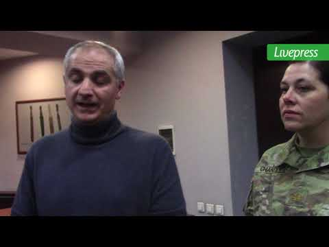 American military person meeting