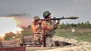 Ukrainian Soldiers Shooting The Powerful Soviet RPG-7 And RPG-22 Rocket-Propelled Grenades