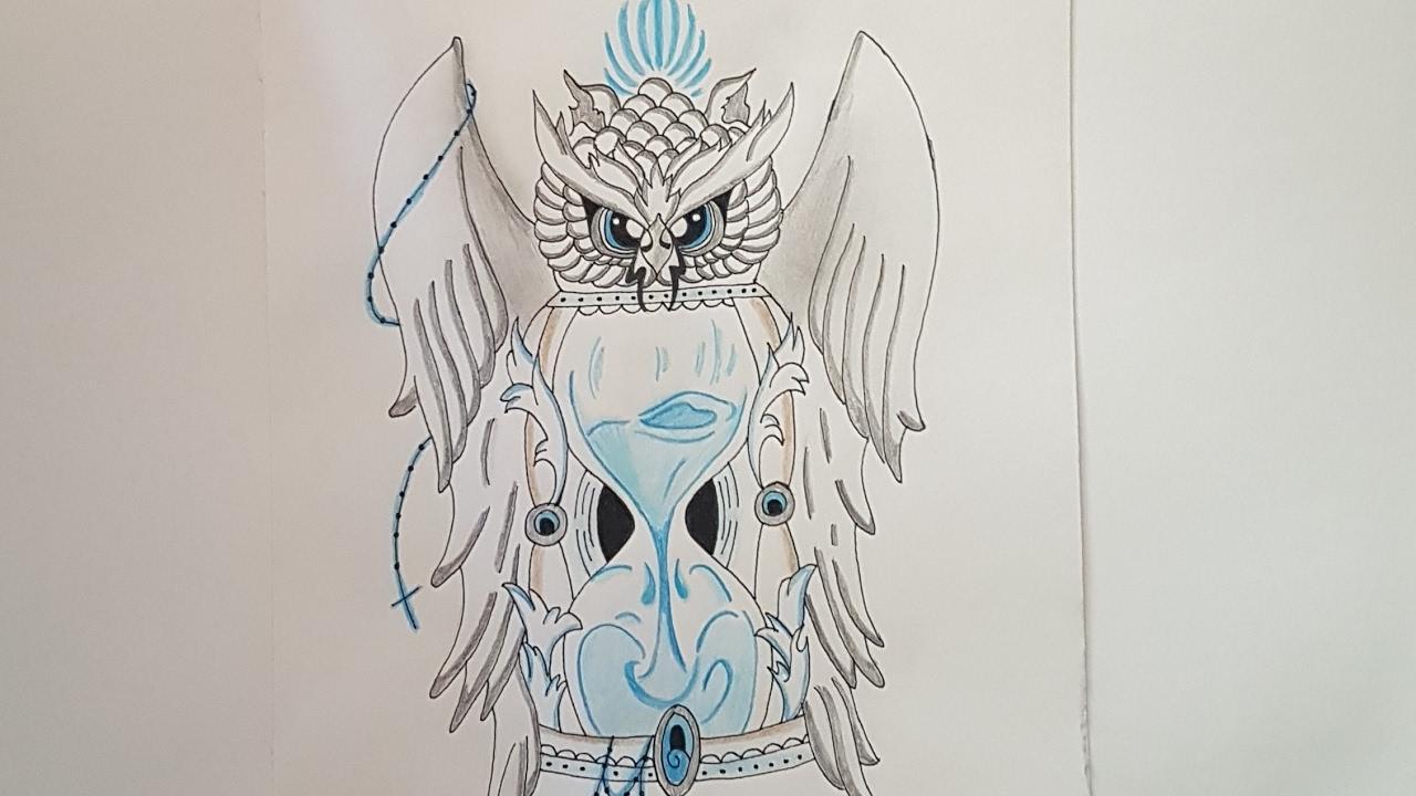Tutorial Como Dibujar Un Buho Y Un Reloj De Arena Paso A