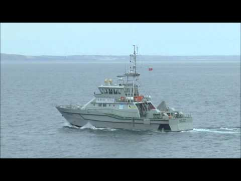 Fisheries Patrol Vessel 'Saint Piran' passing by The Lizard and Mousehole, August 2015