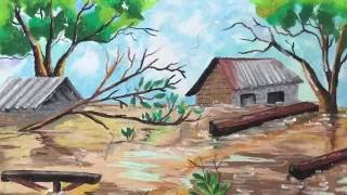 Learn how to colour a flood with oil pastel by Marhanim