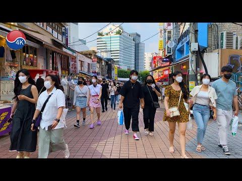 [4K] Seoul Heat Wave Warning - Hongdae, Yeonnam-dong cafe alley, Weekend Afternoon. 4K Seoul Korea.