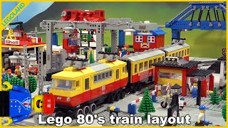 Lego train 80's layout with ALL 12V trains and classic Lego town