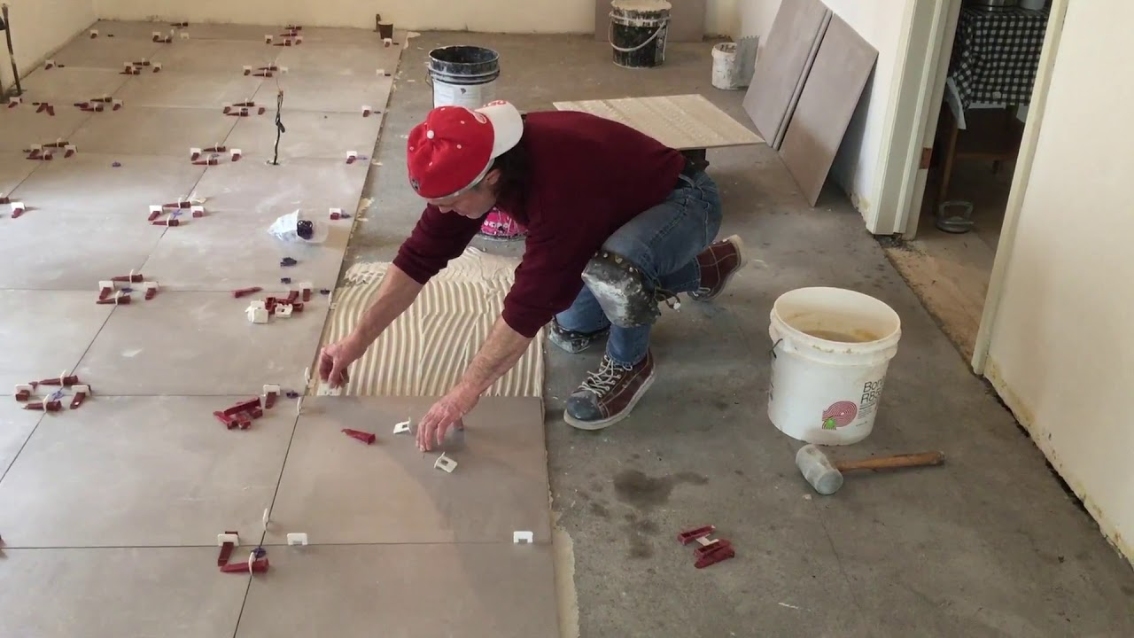 24x24 Kitchen Floor Tile Installation With Dry Pack