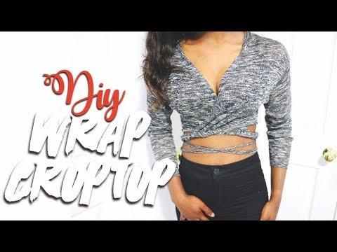 47079c8fd133d DIY WRAP CROP TOP (EASY   NO SEW) - YouTube